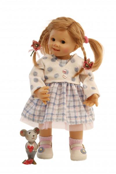 Puppe Müller-Wichtel Fiona 30 cm rote Haare, Kleidung blau/weiss
