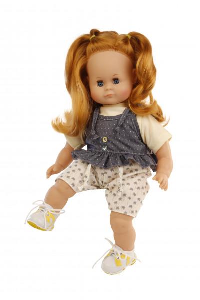 Puppe Schlummerle 37 cm rote Haare, blaue Schlafaugen, Kleidung gelb/blau/beige