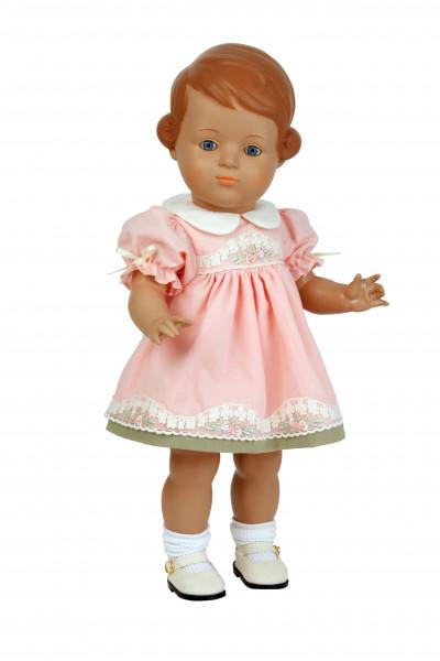 Puppe Inge 46 cm baune Malhaare, rose Sommerkleid