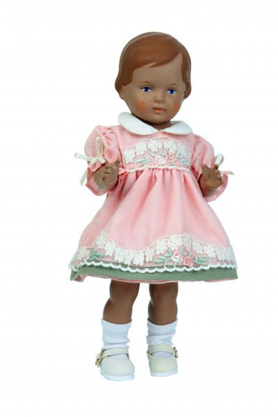 Puppe Christel 25 cm braune Malhaare, rose Sommerkleid