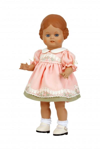 Puppe Bärbel 34 cm braune Malhaare, rose Sommerkleid