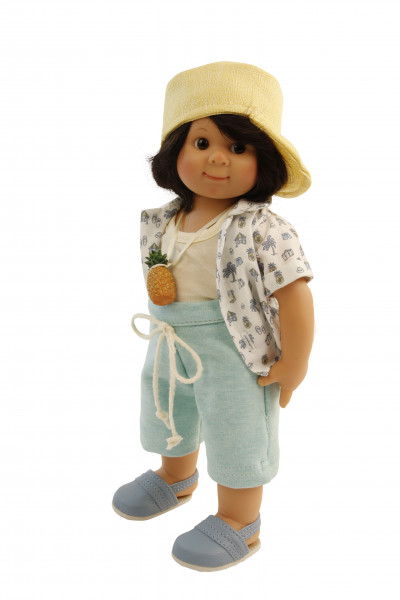 Puppe Müller-Wichtel Stephan 30 cm, schwarze Haare, Strandkleidung