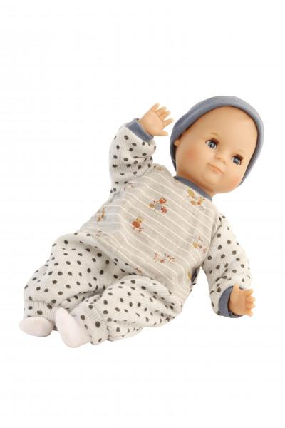 Puppe Schlummerle 32 cm mit Malhaar und blauen Schlafaugen, Kleidung blau/weiss, Eulendruck