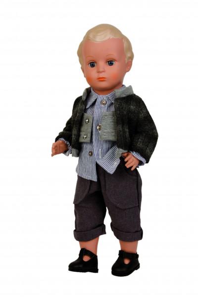 Puppe Hans 41 cm Miblu blonde Malhaare, blaue Glaskugelaugen, Kleidung braun/blau