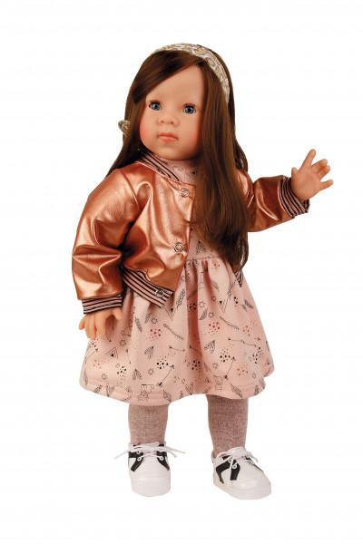 Stehpuppe Elli 52 cm braune Haare, blaue Schlafaugen, Kleidung rose/rotgold