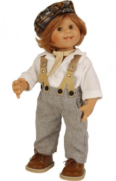Puppe Müller-Wichtel Barry 30 cm rote Haare, Kleidung weiss/grau/braun