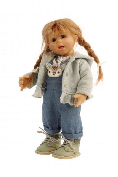 Puppe Müller-Wichtel Emma 30 cm rote Haare, Kleidung weiss/blau/mint