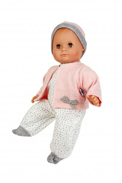 Puppe Schlummerle 32 cm mit Malhaar und braunen Schlafaugen, Overall weiß mit Tuppfen und rose Jacke