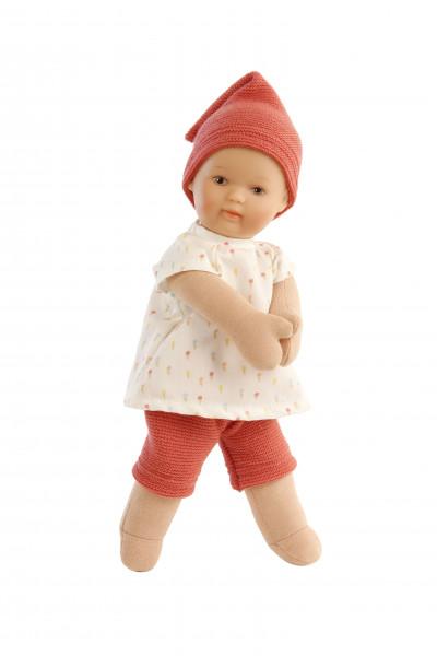 Puppe Schmuserle 30 cm Malhaar, braune Malaugen, Kleidung rot/weiss mit Eistüten