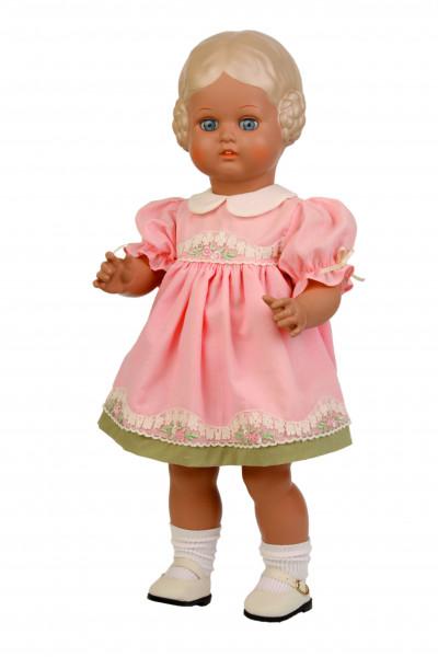 Puppe Bärbel 49 cm blonde Malhaare, rose Sommerkleid