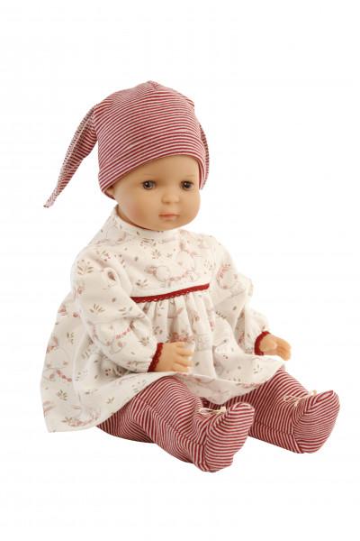 Puppe Schlenkerle 37 cm mit Malhaar und braunen Malaugen, Kleidung rot/weiss