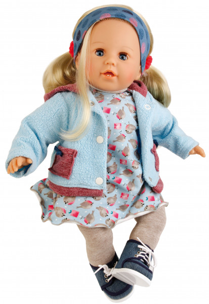 Puppe Susi 45 cm blonde Haare, blaue Schlafaugen, Kleidung winterlich in blau/grau