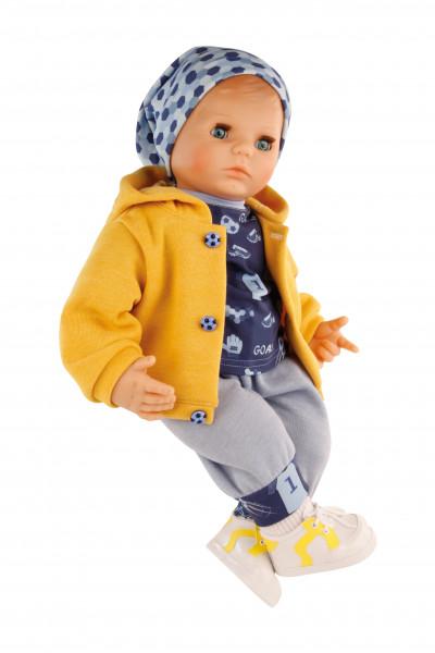 Puppe Peterle 52 cm mit Malhaar, blauen Schlafaugen, Fussballkleidung