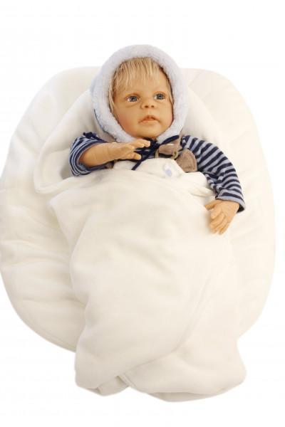Puppe Leon 50 cm von Gudrun Legler blonde Haare, Kleidung blau/weiss