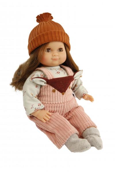 Puppe Schlummerle 32 cm braune Haare, braune Schlafaugen, Winterkleidung mint/rose/braun