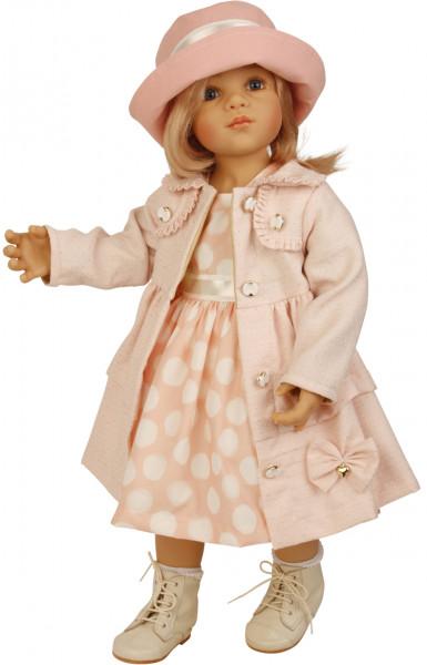 Puppe Alina stehend 64 cm von Sieglinde Frieske rotblonde Haare, Kleidung rose/weiss,