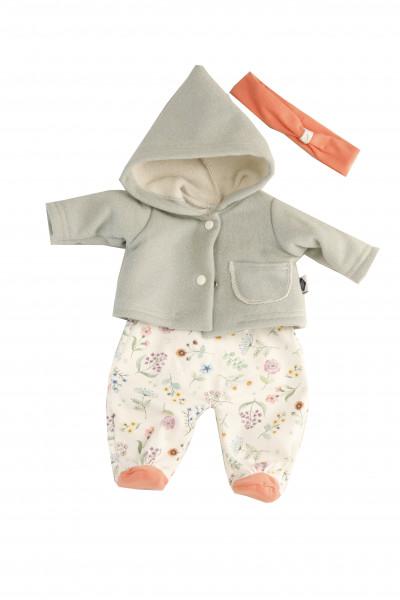 Kleidung zu Puppe 37 cm Lenchen/Strampelchen/Schlenkerle/Schlummerle Blumenoverall mit Jacke und Sti