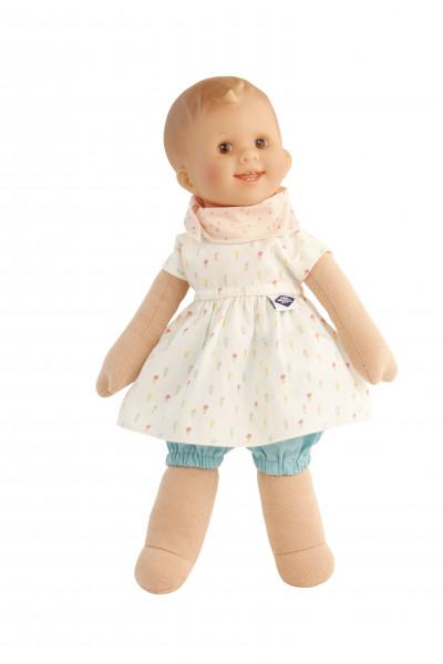 Puppe Löckchen 30 cm Malhaar, braune Malaugen, Kleidung blau/weiss/rose