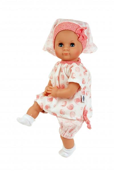 Puppe Schlummerle 32 cm mit Malhaar und blauen Schlafaugen, Smmerkleidung weiß/rose mit Erdbeerdruck