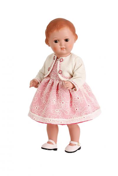 Puppe Erika 41 cm Miblu braune Malhaare, braune Glaskugelaugen, Kleidung rose/weiss