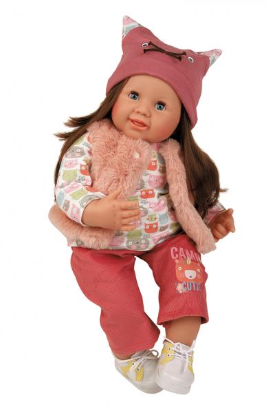 Puppe Klara 52 cm braune Haare, blaue Schlafaugen, Kleidung mit Katzenmotiv