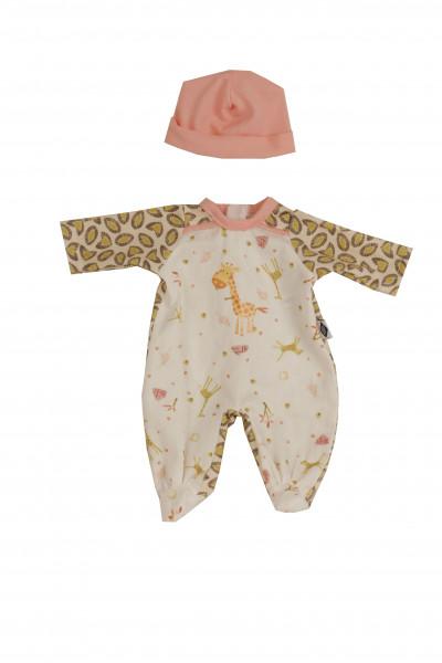 Kleidung zu Puppe Schlummerle 32 cm, Overall mit Mütze, mit Griaffenprintiss/grau