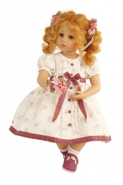 Puppe Elena sitzend 53 cm von Sybille Sauer rote Haare, festliches Kleid