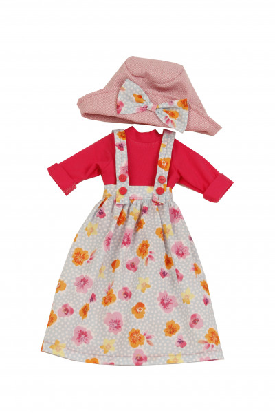 Kleidung zu Puppe Yella 46 cm sommerlich rot/rose/blauwinterlich