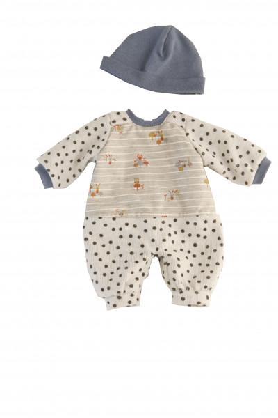 Kleidung zu Puppe Schlummerle 32 cm, Overarll blau/weiss mit Mütze