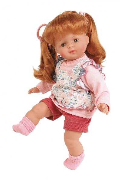 Puppe Strampelchen 37 rote Haare, braune Malaugen, Kledung rose/blau/weiss