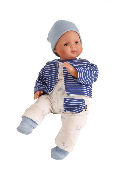 Puppe Schlenkerle 37 cm mit Malhaar und braunen Malaugen, Kleidung weiss/blau