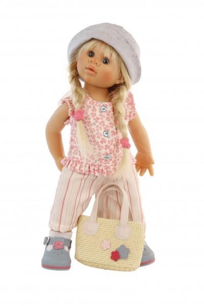 Puppe Müller-Wichtel Lili Gr.. 30, blonde Haare, Sommerkleidung weiss/pink/blau