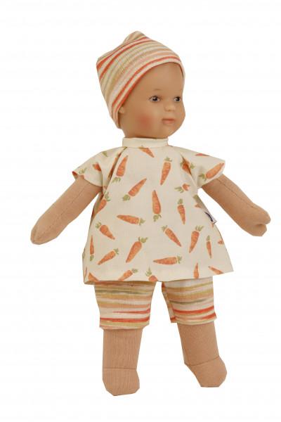 Puppe Schmuserle 30 cm Malhaar, braune Malaugen, Kleidung weiss/orange mit Möhrendruck