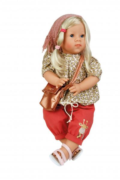 Puppe Elli 52 cm blonde Haare, blaue Schlafaugen, Kleidung rot/braun/rose