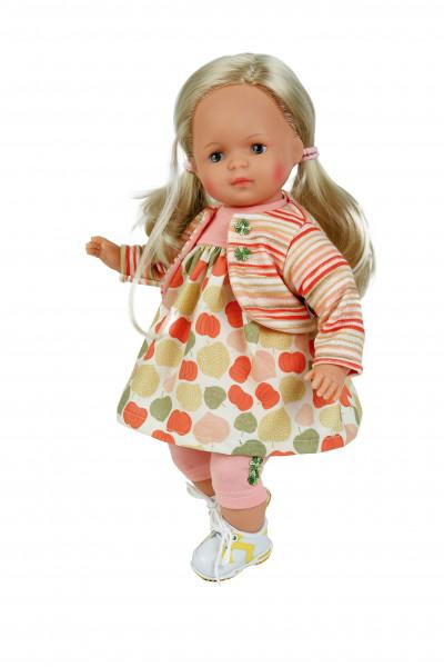 Puppe Strampelchen 37 blonde Haare, braune Malaugen, Sommerkleidung oliv/orange/rose