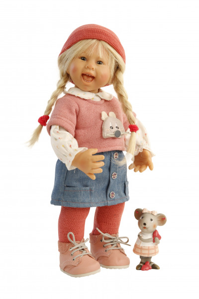 Puppe Müller-Wichtel Lea 30 cm blonde Haare, Kleidung winterlich