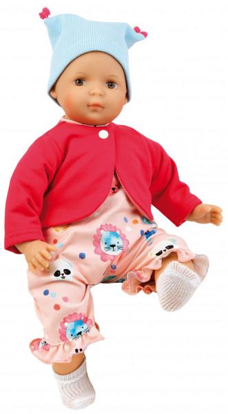 Puppe Schlenkerle 37 cm mit Malhaar und braunen Malaugen, Kleidung rose/pink/bleu