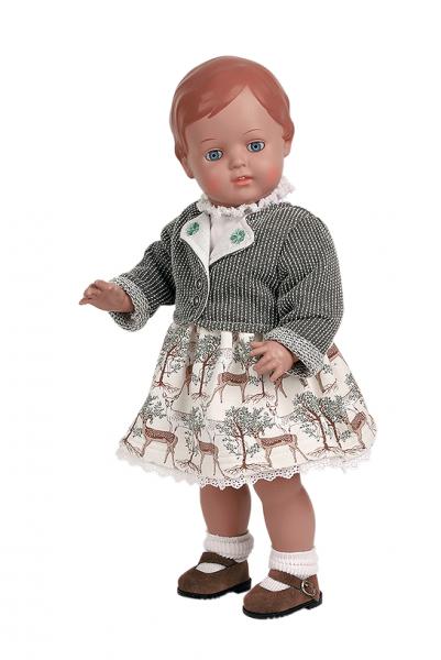 Puppe Christel 46 cm braune Malhaare, Trachtenkleidung