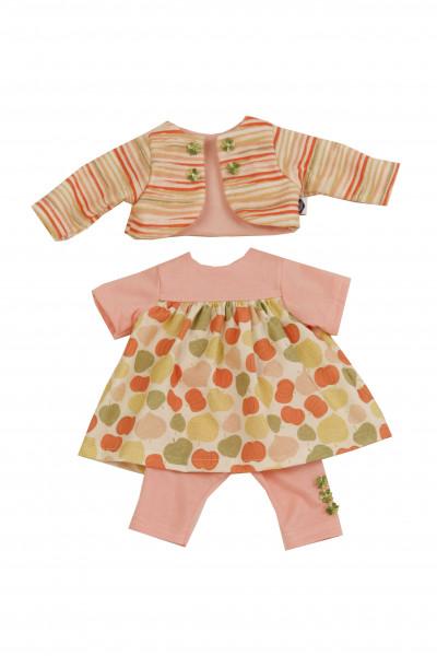 Kleidung zu Puppe 37 cm Strampelchen/Schlenkerle/Schlummerle orange/oliv/rose