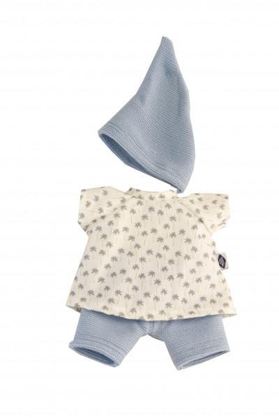 Kleidung zu Puppe Schmuserle/Löckchen 30 cm in blau/weiss