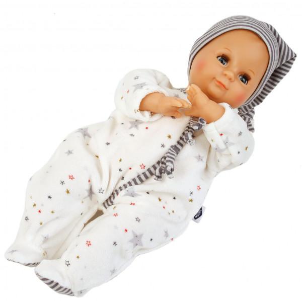 Puppe Schlummerle 32 cm mit Malhaar und blauen Schlafaugen, Overall weiß/blau