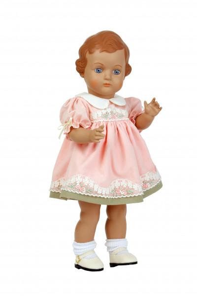 Puppe Ursel 41 cm von 1941 braune Malhaare rose Kleid