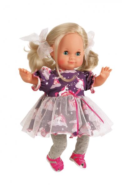 Puppe Schlummerle 32 cm braune Haare, blaue Schlafaugen, Sommerkleidung lila mit Einhorn und Tüllroc