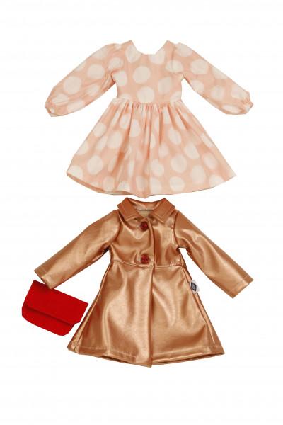 Kleidung zu Puppe Yella 46 cm rose/rotgold