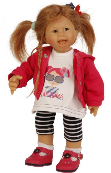 Puppe Müller-Wichtel Lea 30 cm rote Haare, Kleidung weiss/blau/pink