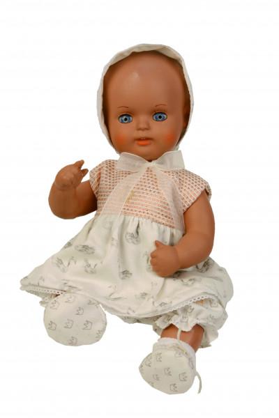 Baby Strampelchen 31+35 cm braune Malhaare, Schwanenkleidung