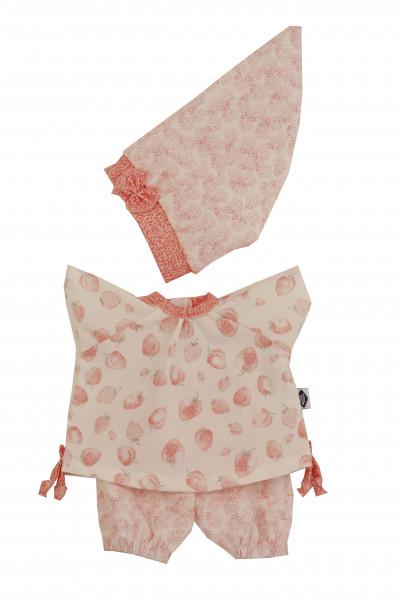 Kleidung zu Puppe Schlummerle 32 cm, sommerlich in rose/weiss mit Erdbeerdruck