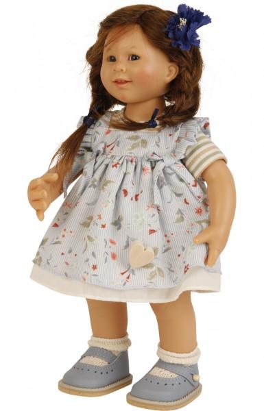 Puppe Müller-Wichtel Rosi 30 cm braune Haare, Sommerkleid blau/beige