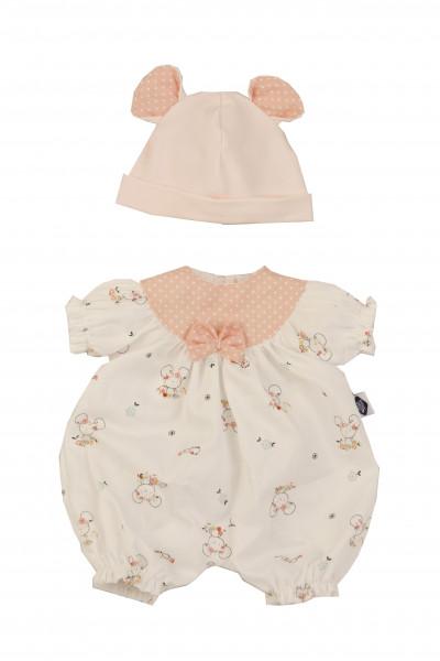 Kleidung zu Puppe Schlummerle 32 cm, Overall weiss/rose
