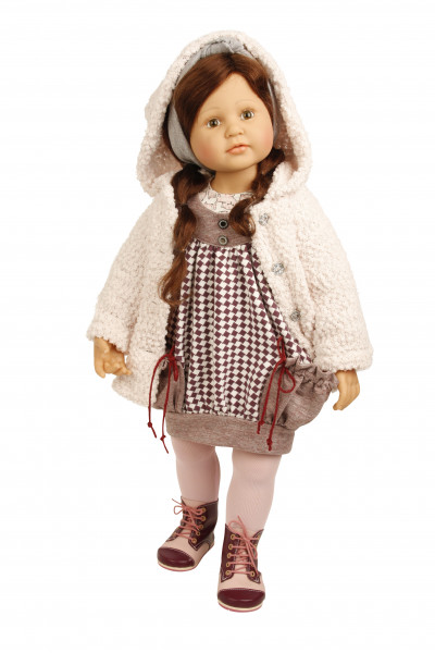 Puppe Johanna stehend 70 cm von Brigitte Paetsch braune Haare, Kleidung winterlich rose/braun
